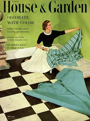 House And Garden Cover Featuring A Woman Poster
