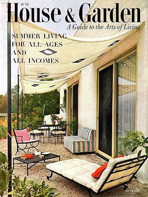 House And Garden Cover Of A Furnished Patio Poster by Julius Shulman