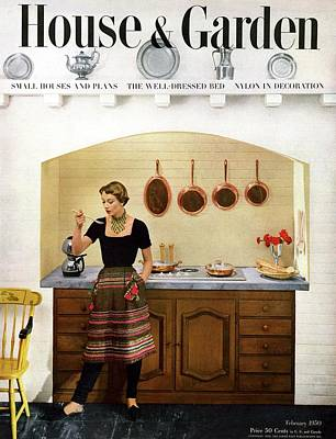 House And Garden Featuring A Woman Cooking Poster