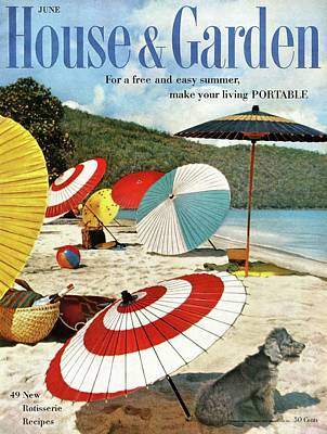 House And Garden Featuring Umbrellas On A Beach Poster by Otto Maya & Jess Brown