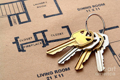 House Keys On Real Estate Housing Floor Plans Poster by Olivier Le Queinec