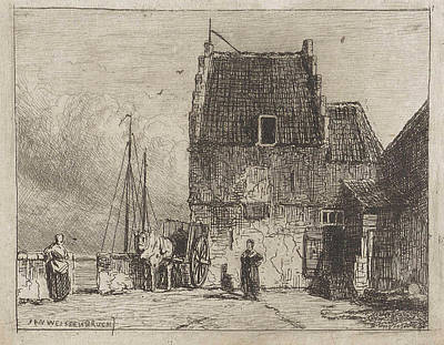 House On The Waterfront In Nijmegen, The Netherlands Poster by Jan Weissenbruch