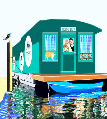Houseboat Poster by Marian Cates