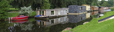 Houseboats In Canal Poster