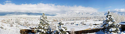 Houses And Trees Covered With Snow Poster by Panoramic Images