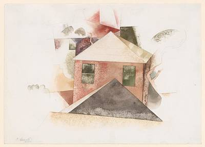 Houses With Red Poster by Charles Demuth
