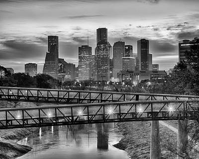 Houston Over The Bridge In Bw Poster by Kayta Kobayashi