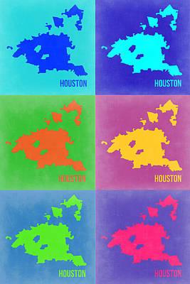 Houston Pop Art Map 3 Poster by Naxart Studio