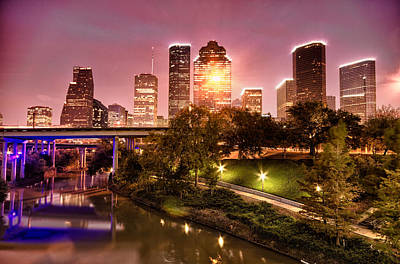 Houston Skyline Above Buffalo Bayou Poster by Kayta Kobayashi