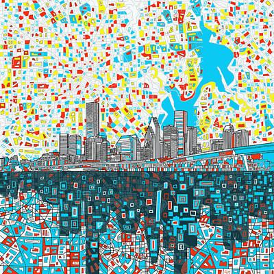 Houston Skyline Abstract 8 Poster
