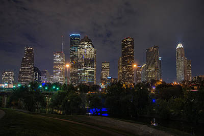 Houston Skyline At Night Poster