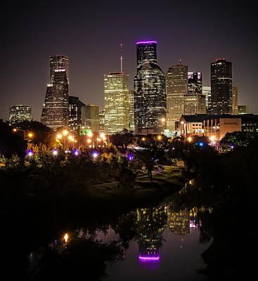 Houston Skyline From Buffalo Bayou Poster