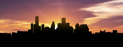 Houston Skyline Panorama Sunset Poster by Aged Pixel