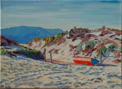Poster featuring the painting Hout Bay Beach With Table Mountain by Thomas Bertram POOLE
