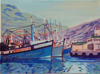 Poster featuring the painting Hout Bay Fishing Boats by Thomas Bertram POOLE