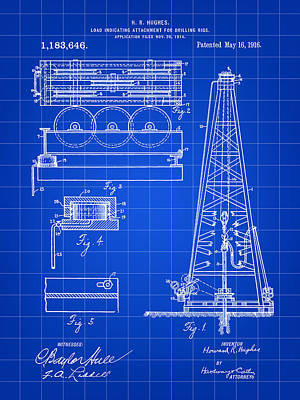 Howard Hughes Drilling Rig Patent 1914 - Blue Poster