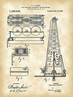 Howard Hughes Drilling Rig Patent 1914 - Vintage Poster by Stephen Younts