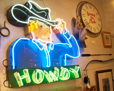 Howdy From The Neon Cowboy Taos  Poster by Mary Lee Dereske
