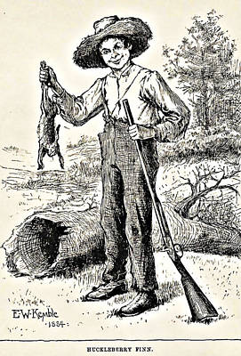 Huckleberry Finn Illustration Drawing Print Poster by