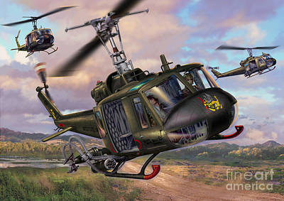 Hueys In The Lz Poster by Stu Shepherd