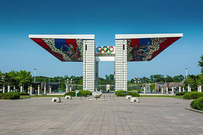 Huge Gate At The Olympic Park Seoul Poster by Michael Runkel