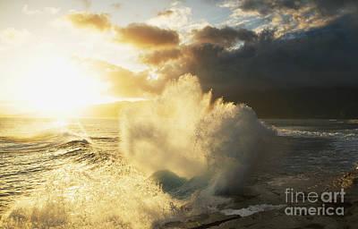 Huge Wave Crashing Against Coastal Rocks On The Portlock Coastline_ Oahu, Hawaii, United States Of America Poster by Charmian Vistaunet