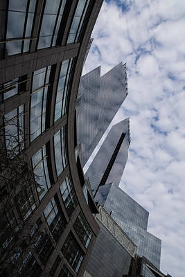 Hugging The Clouds At Columbus Circle - Manhattan New York City Poster