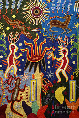 Huichol Yarn Painting Mexico Poster by John  Mitchell