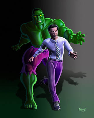 Poster featuring the painting Hulk - Bruce Alter Ego by Anthony Mwangi