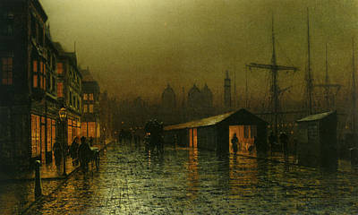 Poster featuring the painting Hull Docks By Night   by Arthur Grimshaw