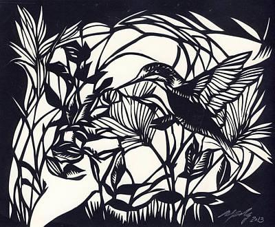 Humming Bird Visit Poster