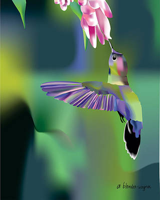 Poster featuring the digital art Hummingbird by Arline Wagner