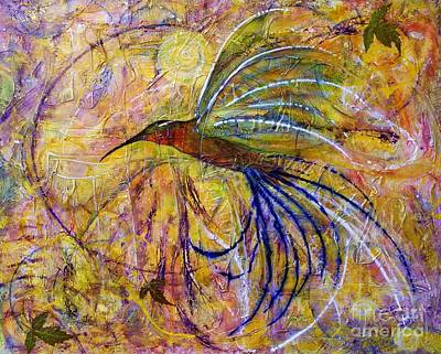Poster featuring the painting Hummingbird Don't Fly Away by Jane Chesnut