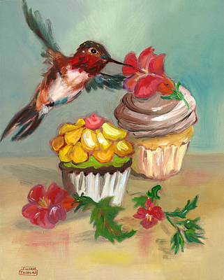 Poster featuring the painting hummingbird with 2 Cupcakes by Susan Thomas
