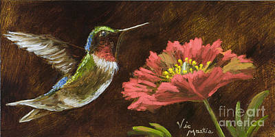 Hummingbird With Gold Leaf By Vic Mastis Poster