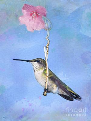 Hummingbirds Like To Swing Poster by Betty LaRue