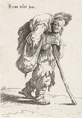 Humpback Beggar With A Cane Poster by Jan Gillisz. Van Vliet