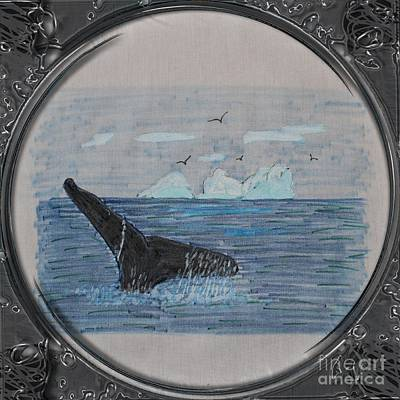 Humpback Whale Tail And Icebergs - Porthole Vignette Poster by Barbara Griffin