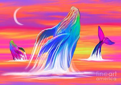 Humpback Whales Sunset Poster by Nick Gustafson