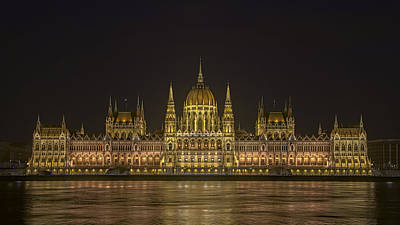 Hungarian Parliament Building Night Poster