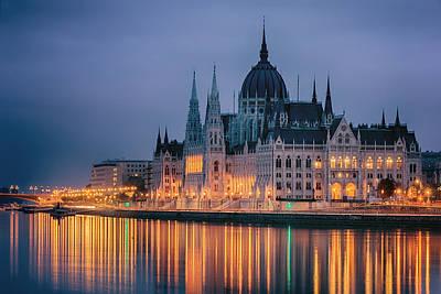Hungarian Parliament Dawn Poster