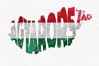 Hungary Typographic Map Flag Poster by Ayse Deniz