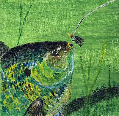 Poster featuring the painting Hungry Bluegill by Linda Feinberg