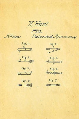 Hunt Safety Pin Patent Art 1849  Poster by Ian Monk