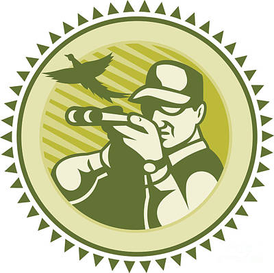 Hunter Aiming Shotgun Rifle With Pheasant Bird Poster