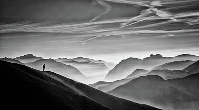 Hunter In The Fog Bw Poster