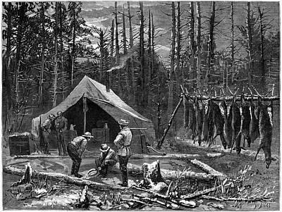 Hunting Deer, 1874 Poster