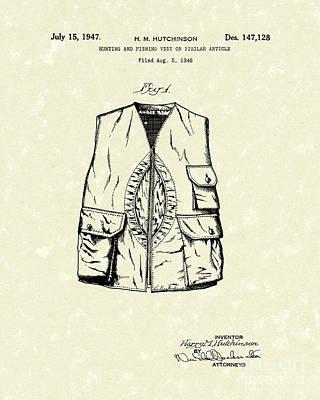 Hunting Vest 1947 Patent Art Poster