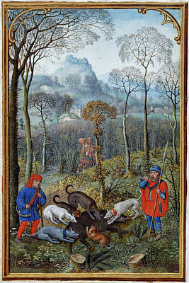 Hunting Wild Boar Poster by British Library