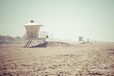 Huntington Beach Lifeguard Tower #1 Retro Photo Poster